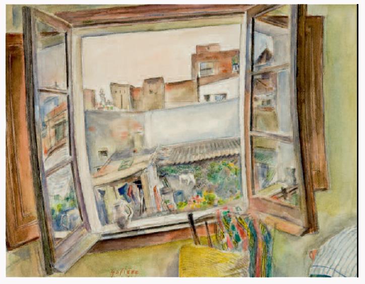 Fen tre ouverte sur barcelone peinture de victorin gali re for Peinture sur fenetre