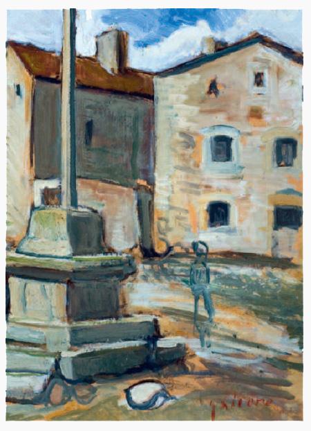 Le Born croix de la place du village, peinture de Victorin Galière